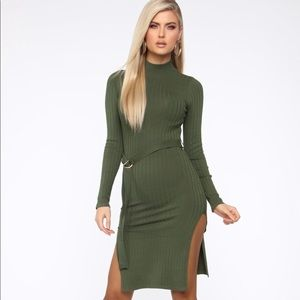 Don't be shy sweater dress - olive